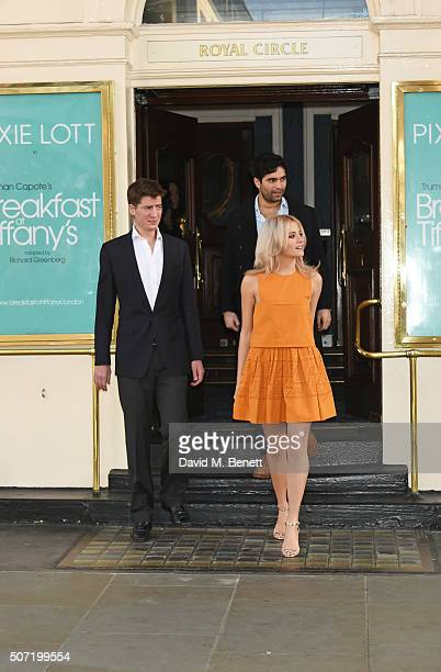 Cast members Matt Barber Charlie De Melo and Pixie Lott attend a photocall for a new stage adaptation of Truman Capote's Breakfast at Tiffany's at...