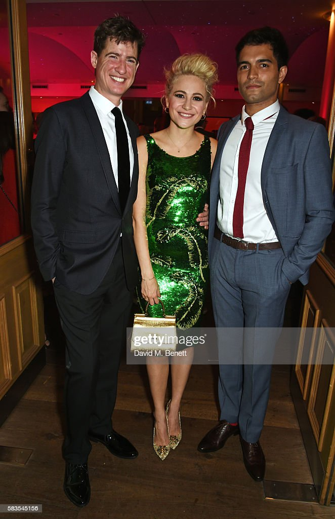 Cast members Matt Barber, Pixie Lott and Charlie de Melo attend the press night after party for 'Breakfast at Tiffany's' at the The Haymarket Hotel on July 26, 2016 in London, England.