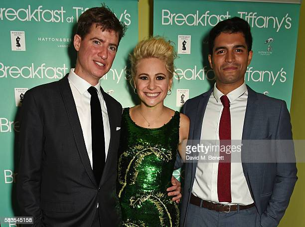 Cast members Matt Barber Pixie Lott and Charlie de Melo attend the press night after party for 'Breakfast at Tiffany's' at the The Haymarket Hotel on...