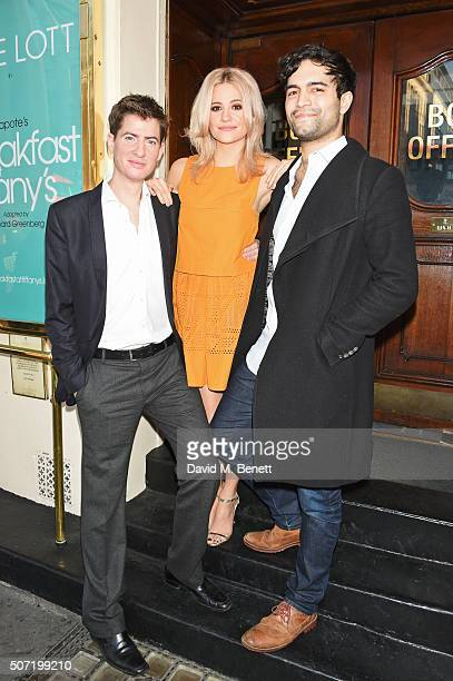 Cast members Matt Barber Pixie Lott and Charlie De Melo pose at a photocall for a new stage adaptation of Truman Capote's 'Breakfast at Tiffany's' at...