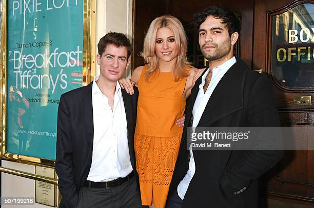 Cast members Matt Barber Pixie Lott and Charlie De Melo pose at a photocall for a new stage adaptation of Truman Capote's Breakfast at Tiffany's at...