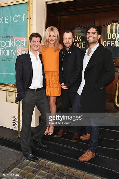Cast members Matt Barber Pixie Lott director Nikolai Foster and Charlie De Melo pose at a photocall for a new stage adaptation of Truman Capote's...