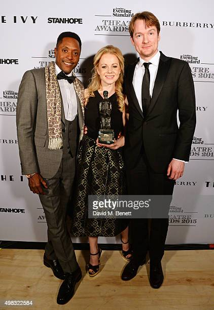 Cast members Matt Henry Amy Lennox and Killian Donnelly accepting the Evening Standard Radio 2 Audience Award for Best Musical Newcomer In A Musical...