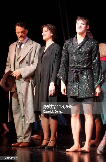 Cast members Matt Rawle Michelle Ryan and Will Young bow at the curtain call during the press night performance of 'Cabaret' at The Savoy Theatre on...