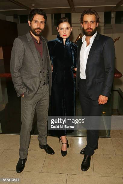 Cast members Matt Ryan Judith Roddy and Christian Cooke attend the press night after party of Knives In Hens at The Hospital Club on August 22 2017...