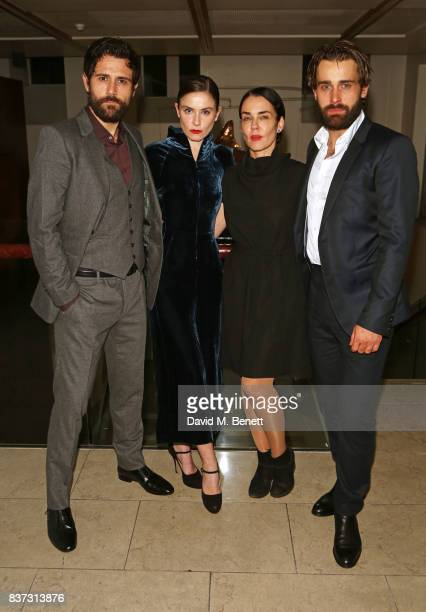 Cast members Matt Ryan Judith Roddy director Yael Farber and Christian Cooke attend the press night after party of Knives In Hens at The Hospital...