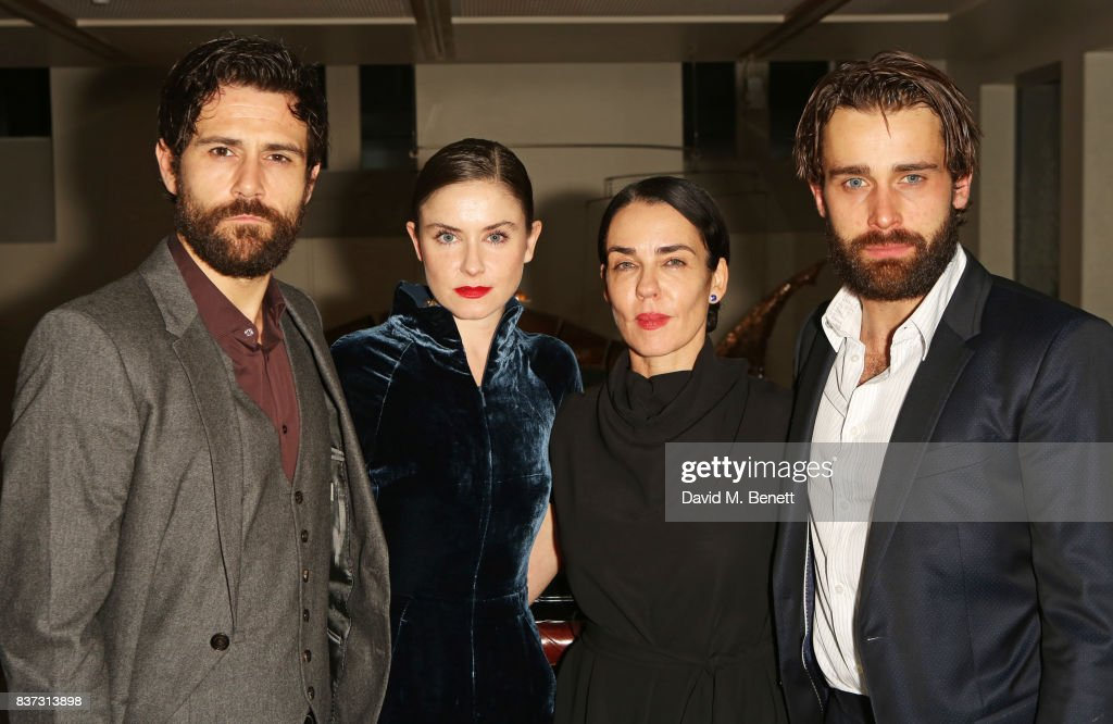 Cast members Matt Ryan, Judith Roddy, director Yael Farber and Christian Cooke attend the press night after party of 'Knives In Hens' at The Hospital Club on August 22, 2017 in London, England.