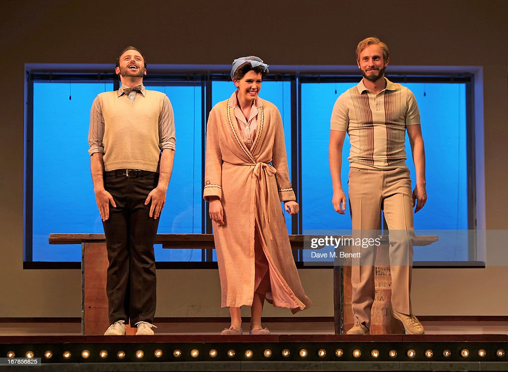 Cast members Matthew Barrow, Josefina Gabrielle and Glyn Kerslake bow at the curtain call during the press night performance of the Menier Chocolate Factory's 'Merrily We Roll Along' as it transfers to the Harold Pinter Theatre on May 1, 2013 in London, England.
