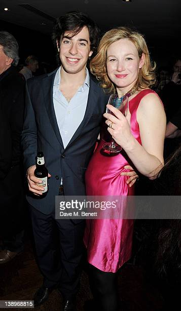 Cast members Matthew Romain and Nancy Carroll attend an after party following the press night performance of Donmar Warehouse's 'The Recruiting...