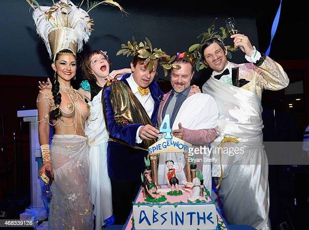 'ABSINTHE' cast members Melody Sweets and Joy Jenkins producers Ross Mollison and David Foster and cast member The Gazillionaire attend the show's...