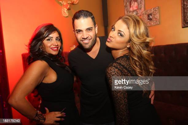 Cast members Mercedes MJ Javid Mike Shouhed and Golnesa GG Gharacheedaghi from Bravo's Shahs of Sunset celebrate Mike's birthday at Aston Manor on...