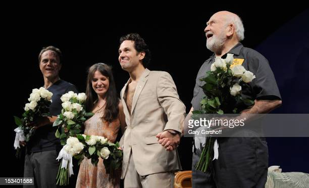 Cast members Michael Shannon Kate Arrington Paul Rudd and Ed Asner take a curtain call at the 'Grace' Broadway opening night at the Cort Theatre on...