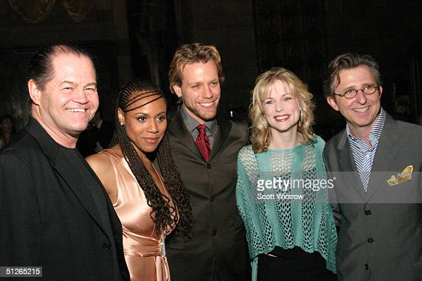AIDA cast members Micky Dolenz Deborah Cox Adam Pascal Lisa Brescia and Thomas Schumacher president of Disney Theatrical Productions attend the after...