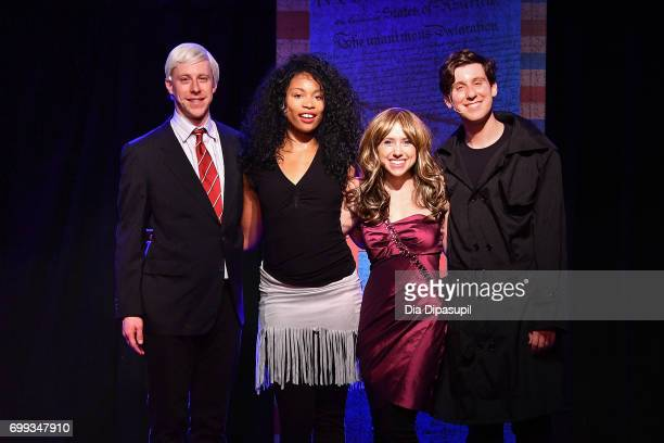 Cast members Mitchel Kawash Aiesha Alia Dukes Mia Weinberger and Richard Spitaletta pose onstage at the ME THE PEOPLE The Trump America Musical Press...