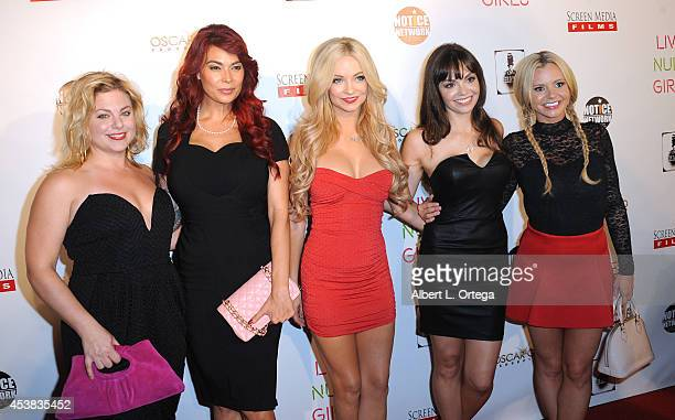 Cast members Naomi Leonard Tera Patrick Mindy Robinson Annemarie Pazmino and Bree Olson arrive at the premiere of 'Live Nude Girls' held at Avalon on...