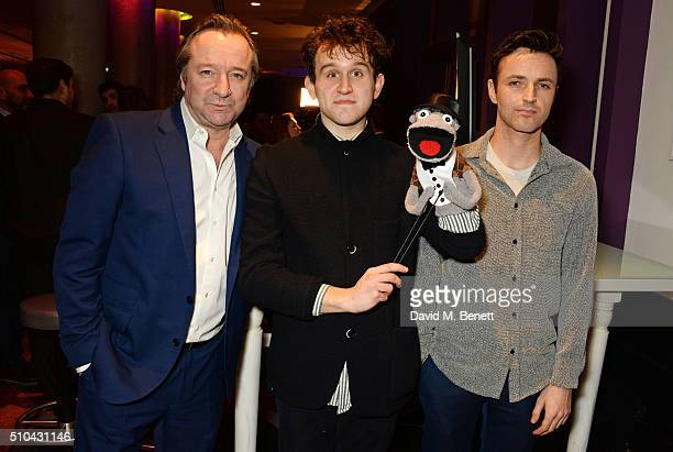 Cast members Neil Pearson Harry Melling and Kevin Mains attend the press night after party of 'Hand To God' at the Trafalgar Hotel on February 15...