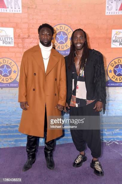 Cast members Nick Rashad Burroughs and Aaron Marcellus attend the opening night of the Purple Rain at Radial Park DriveIn Experience at Radial Park...