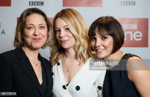 Cast members Nicola Walker Fiona Button and Annabel Scholey photographed during BBC One's 'The Split' photocall at Soho Hotel on April 4 2018 in...