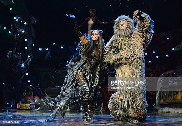 Cast members Nicole Scherzinger and Nicholas Pound bow at the curtain call during the press night performance of 'Cats' as Nicole Scherzinger joins...