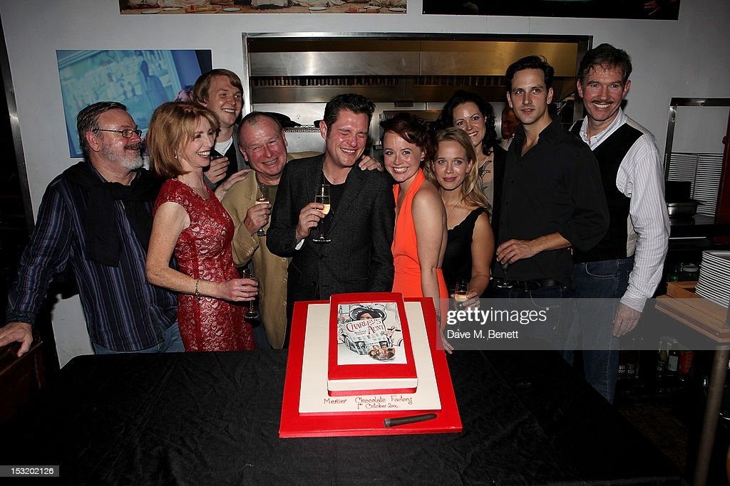 Cast members Norman Pace, Jane Asher, Benjamin Askew, director Ian Talbot, cast members Mathew Horne, Charlie Clemmow, Ellie Beaven, Leah Whitaker, Dominic Tighe and Steven Pacey attend an after party following the press night performance of 'Charley's Aunt' at Menier Chocolate Factory on October 1, 2012 in London, England.