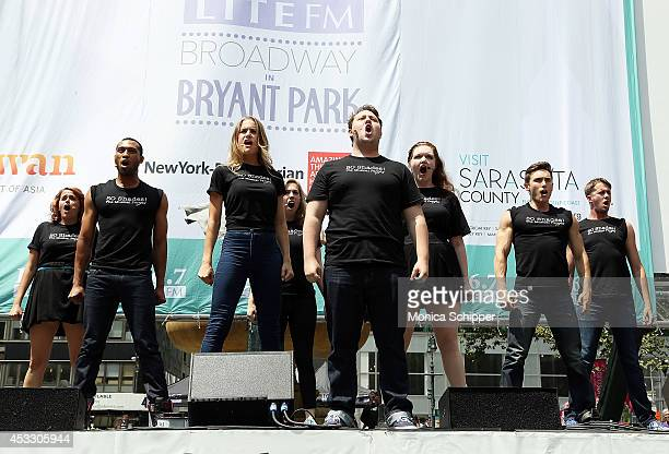 Cast members of Õ50 Shades The MusicalÕ performs during 1067 LITE FM's Broadway in Bryant Park 2014 at Bryant Park on August 7 2014 in New York City