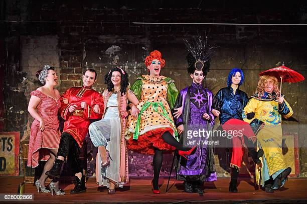 Cast members of Aladdin being performed at the Panoptican theatre hold a media call on December 6, 2016 in Glasgow, Scotland. The pantomime is being...