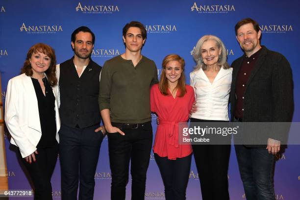 Cast members of 'Anastasia' Caroline O'Connor Ramin Karimloo Derek Klena Christy Altomare Mary Beth Peil and John Bolton attend the 'Anastasia' Sneak...