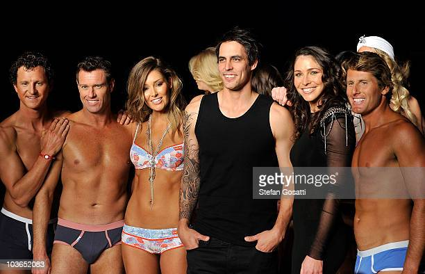 Cast Members of Bondi Rescue Dean Gladstone Bruce 'Hoppo' Hopkins and Anthony Carroll pose with Erin McNaught Mitchell Johnson and Giaan Rooney on...