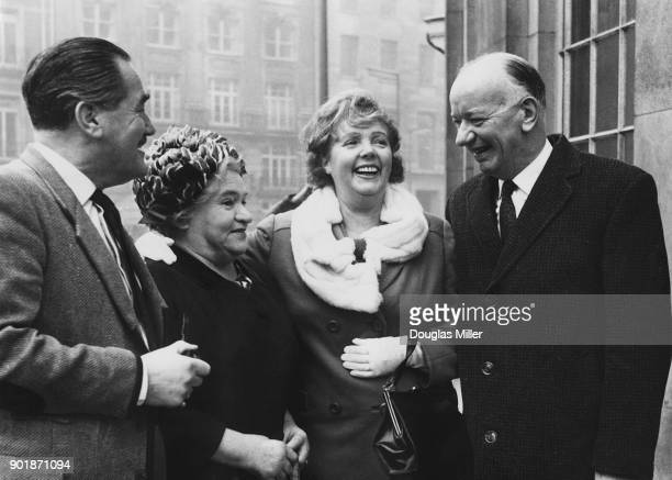 Cast members of British radio programme 'The Archers' meet members of radio show 'The Dales' in London where 'The Archers' is now being produced...