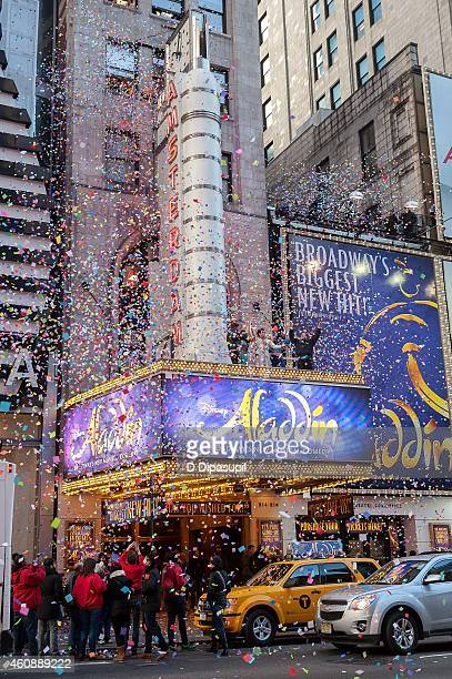 Cast members of Broadway's Aladdin attend Times Square Prepares For 2015 - Confetti Test at the New Amsterdam Theatre on December 29, 2014 in New...