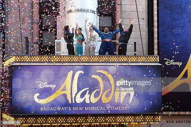 Cast members of Broadway's Aladdin attend Times Square Prepares For 2015 Confetti Test at the New Amsterdam Theatre on December 29 2014 in New York...