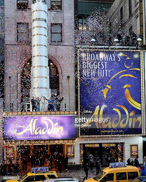 Cast members of Broadway's Aladdin attends Times Square Prepares For 2015 Confetti Test at New Amsterdam Theatre on December 29 2014 in New York City