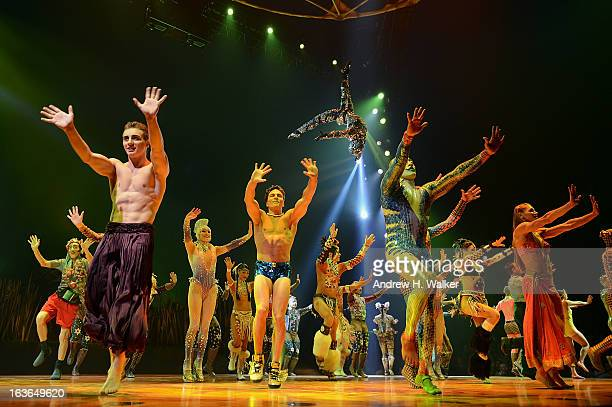 Cast members of Cirque Du Soleil perform in Cirque Du Soleil's Totem dress rehearsal at Citi Field on March 13 2013 in New York City