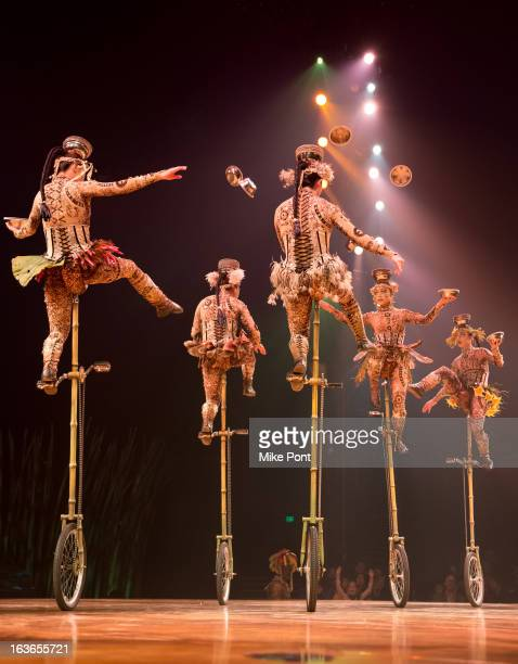 Cast members of Cirque Du Soleil perform in 'Cirque Du Soleil's Totem' Dress Rehearsal at Citi Field on March 13 2013 in New York City