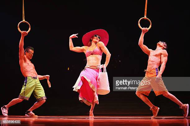 Cast members of Cirque Du Soleil performs in 'Cirque Du Soleil's Totem' dress rehearsal at Alexandra Park on August 21 2014 in Auckland New Zealand