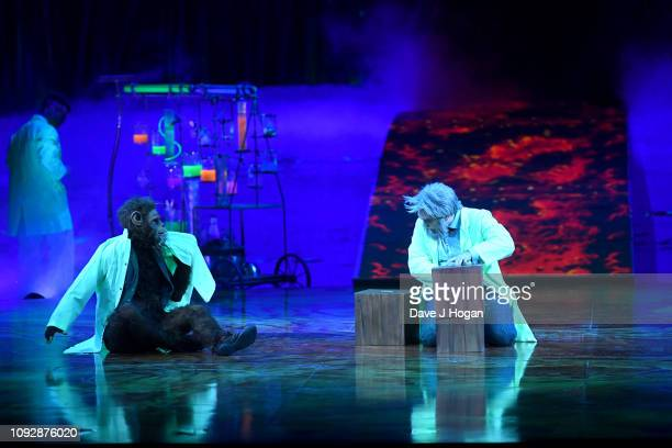Cast members of Cirque Du Soleil TOTEM including the Scientist perform during the Manipulation act during a dress rehearsal at Royal Albert Hall on...