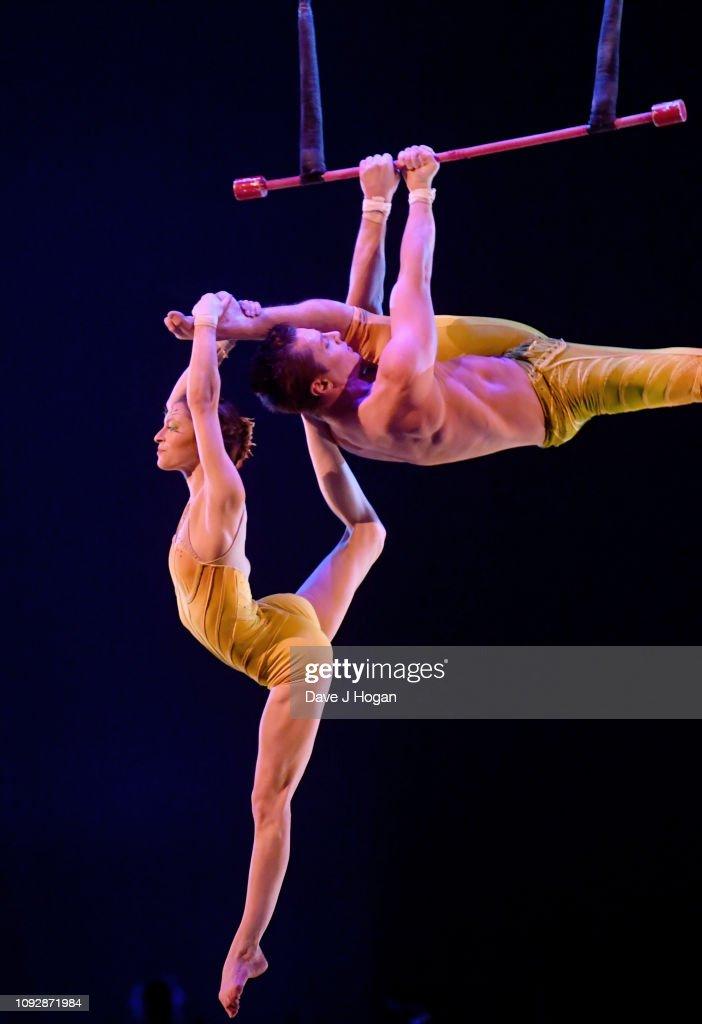 Cast members of Cirque Du Soleil perform in Cirque Du