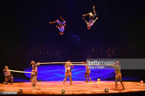 Cast members of Cirque Du Soleil TOTEM perform the Russian Bars act during a dress rehearsal at Royal Albert Hall on January 11 2019 in London England