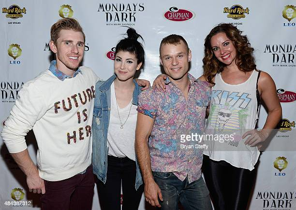 Cast members of 'For The Record Baz' Payson Lewis Briana Cuoco James Byous and Ginifer King attend Mondays Dark benefiting Three Square Food Bank at...