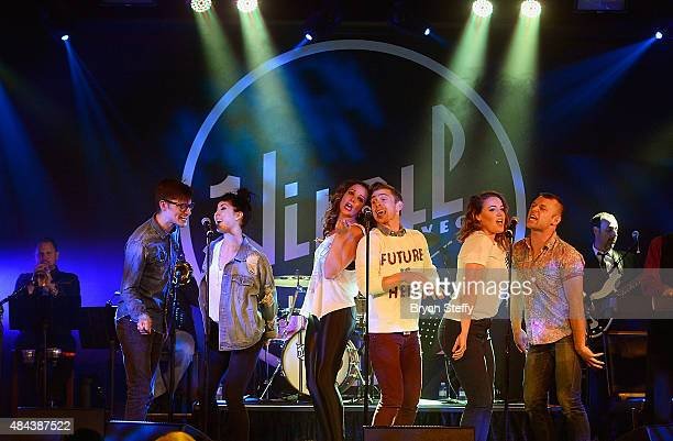Cast Members of 'For The Record Baz' Zach Villa Briana Cuoco Ginifer King Payson Lewis Olivia Harris and James Byous perform during Mondays Dark...