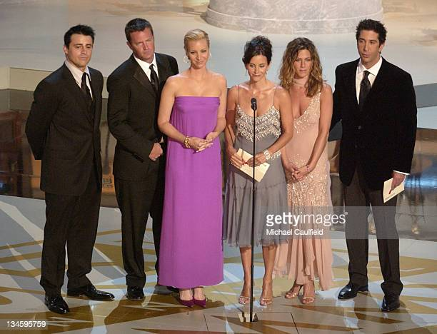 "Cast members of ""Friends"" presenting the Best Supporting Actor and Actress for a Comedy Series at the 54th Annual Emmy Awards"