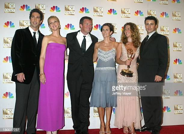 Cast members of Friends winner for Best Comedy Series at the 54th Annual Emmy Awards LR David Schwimmer Lisa Kudrow Matthew Perry Courteney Cox...
