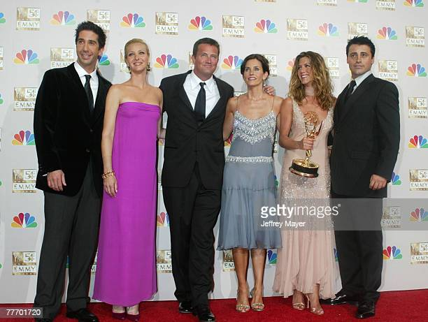 "Cast members of ""Friends"" winner for Best Comedy Series at the 54th Annual Emmy Awards. L-R: David Schwimmer, Lisa Kudrow, Matthew Perry, Courteney..."