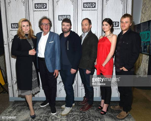Cast members of Genius actors Emily Watson Geoffrey Rush Seth Gabel Michael McElhatton Samantha Colley and Johnny Flynn attend the Build Series to...
