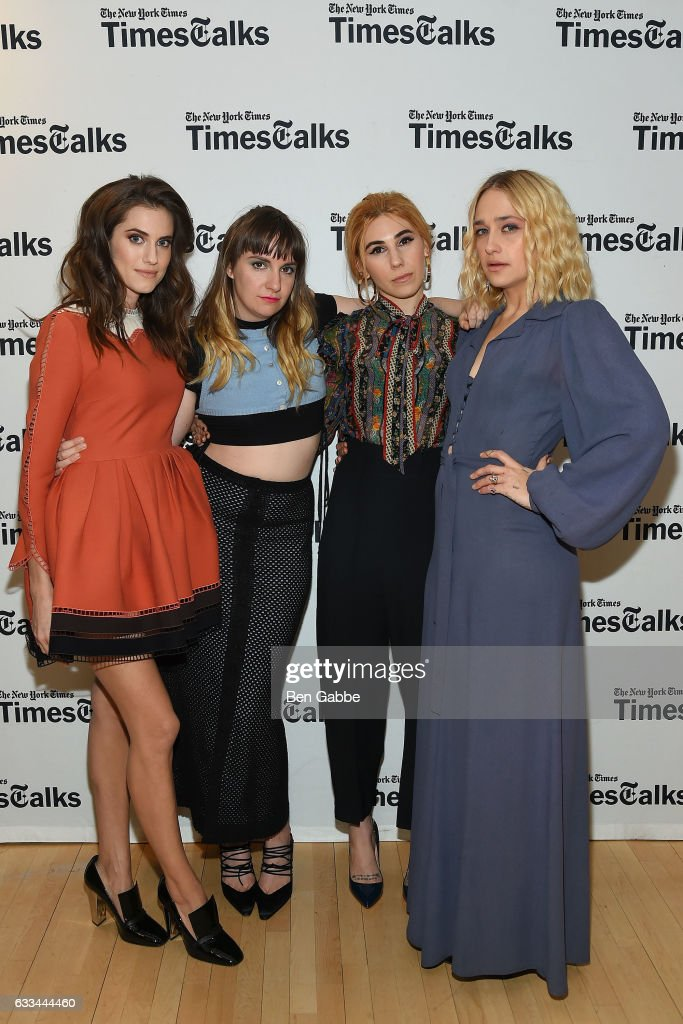 Cast members of 'Girls' Allison Williams, Lena Dunham, Zosia Mamet and Jemima Kirke attend TimesTalks: A Final Farewell to the Cast of HBO's 'Girls' at Jack H. Skirball Center for the Performing Arts on February 1, 2017 in New York City.