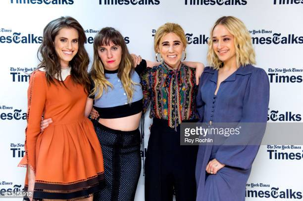 Cast members of 'Girls' Allison Williams Lena Dunham Zosia Mamet and Jemima Kirke attend TimesTalks a final farewell to the cast of HBO's 'Girls' at...