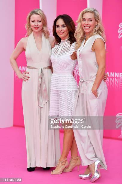 Cast members of 'Honour' Swedish actresses Julia Dufvenius Alexandra Rapaport and Eva Rose pose on the pink carpet during the 2nd Canneseries...