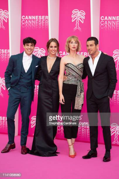 Cast members of 'Instinto' Spanish actors Oscar Casas Silvia Alonso Ingrid Garcia Jonsson and Mario Casas pose on the pink carpet during the 2nd...