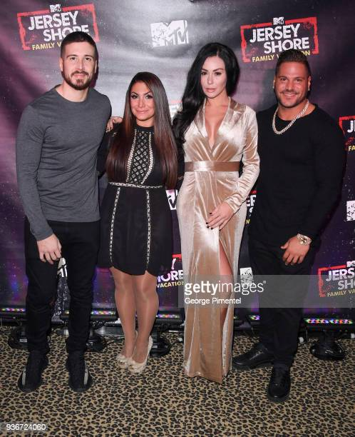 Cast Members of Jersey Shore Vinny Guadagnino Deena Nicole Cortese Jenni 'JWoww' Farley and Ronnie OrtizMagro attend the 'Jersey Shore Family...