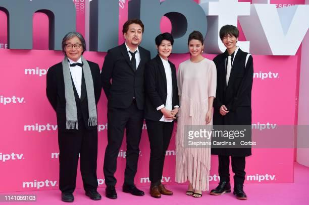 Cast members of 'Junichi' Japanese directors Eiji Kitahara Nanako Hirose Japanese actors Fujii Mina Jun Shison pose on the pink carpet during the 2nd...